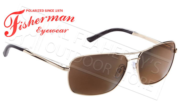 Fisherman Eyewear Chinook Polarized Sunglasses, Gold with Brown Lens #50532202