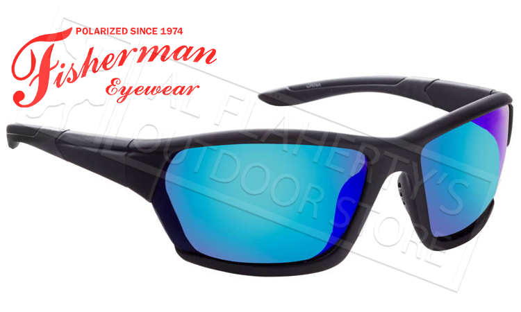 Fisherman Eyewear Breeze Polarized Sunglasses, Black with Blue Mirror Mirror Lens #50523031