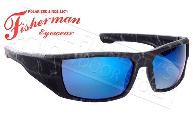 Fisherman Eyewear Bayou Polarized Sunglasses, Black Stormcloud with Blue Mirror Mirror Lens #50283431