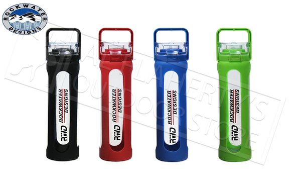 RWD Borosilicate Glass Bottle with Rubber Housing and Flip Cap, Various Colours #1385