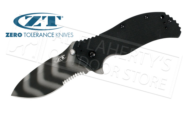 Zero Tolerance 0350 Tiger Stripe Folding Knife with Serrations #0350TSST