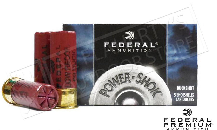 "12 Gauge - Federal Power-Shok Low Recoil Shells, 2-3/4"" 00 Buckshot 9 Pellets Box of 5 #H13200"