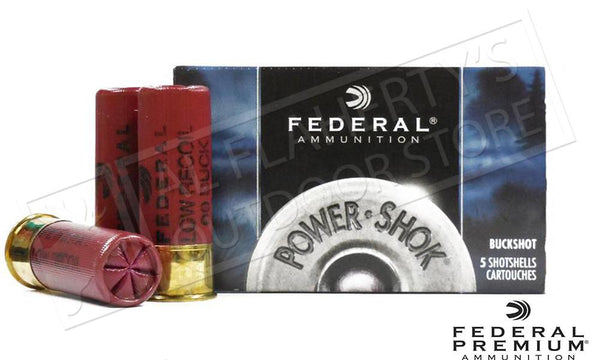 "Federal Power-Shok Low Recoil Ammunition 12 Gauge 2-3/4"" 00 Buckshot 9 Pellets Box of 5 #H132 00"