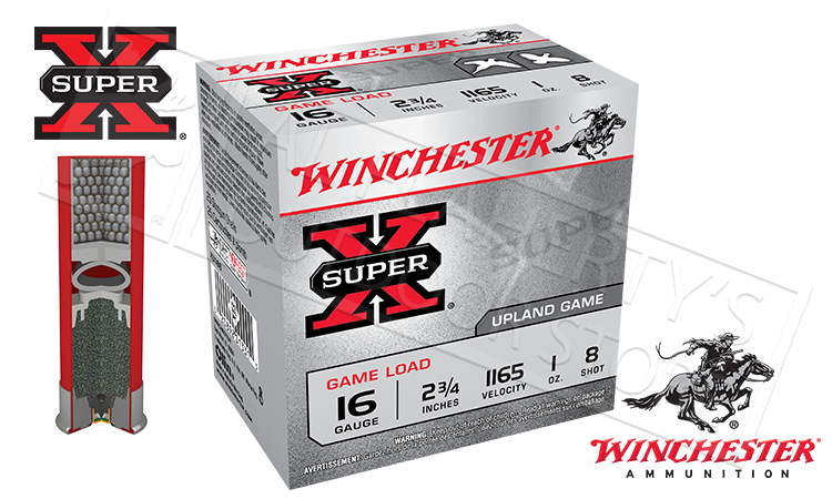 "#XU168 - Winchester Super-X Upland Game Shells, 2-3/4"" #8 Shot, Box of 25"
