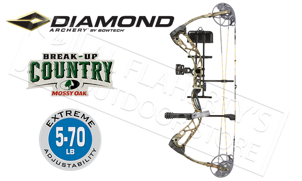 BowTech Diamond Archery Edge SB-1 Bow, 5-70 lb Adjustable Compound Bow, Mossy Oak Break-Up Country Camo #A12960
