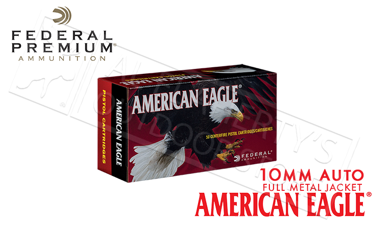 Federal American Eagle 10mm Auto 180 Grain Box of 50 #AE10A
