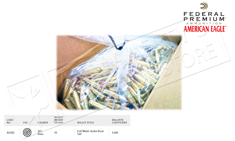 American Eagle .223 Rem FMJ Boat Tail Box of Bullets, 55 Grain Case of 1000 #AE223BK