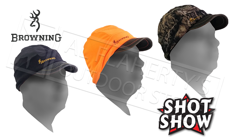 SHOT Show Browning Bullseye Beanie with Brim and Flip Down Ear Covers - Blaze Black or Camo #308531001 #308531991 #308531281