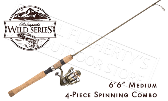 "Shakespeare Wild Series Pack Rod Spinning Combo, 6'6"" 4-Piece with Carry Case #WILDTRVL664M30"