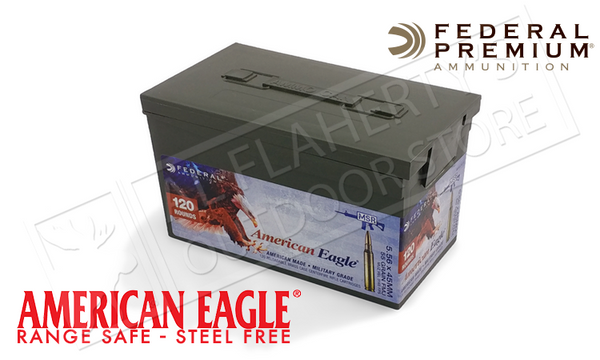American Eagle 5.56x45 NATO XM193, FMJ 55 Grain Box of 120 #XM193LPC120