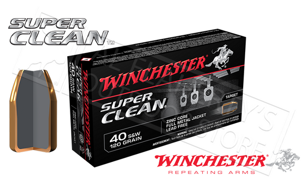 Winchester .40S&W Super Clean, 120 Grain Box of 50 #W40SWLF