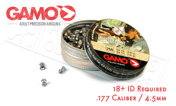 Gamo Master Point Pellets .177, 7.9 Grain Pointed Tip Tin of 250 #632042454