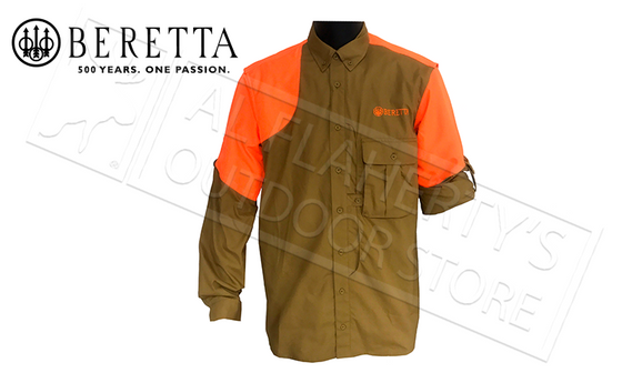 Beretta American Upland Shirt in Blaze Orange & Light Brown M-3XL #LU611T1184