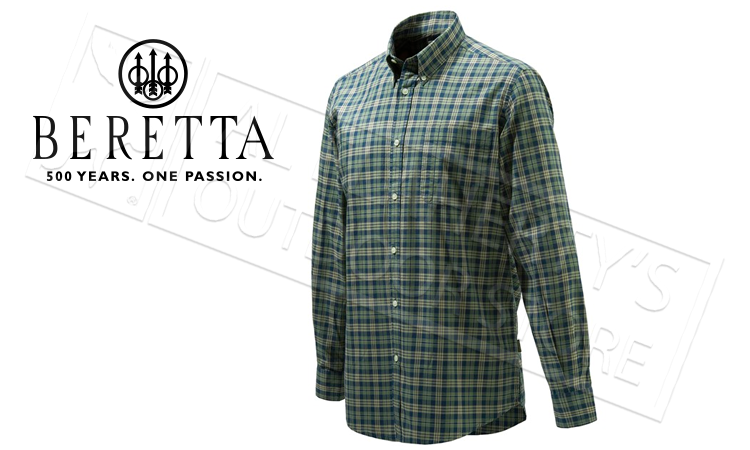 Beretta Drip Dry Shirt, Long Sleeve, Green and Blue Check, L-XL #LU210T0707076G