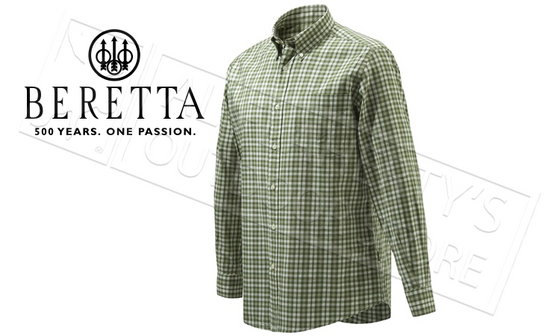 Beretta Drip Dry Shirt, Long Sleeve, Green and Light Beige, L-XL #LU210T0707076L