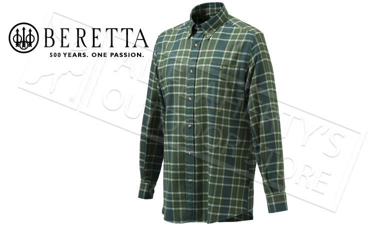 Beretta Sport Classic Button Down Shirt, Green Moss Check, L-XXL #LUA10T0706074F