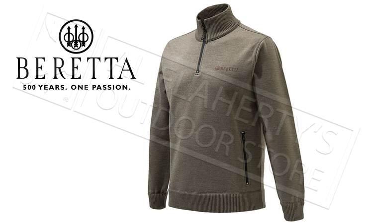 Beretta Techno Windshield Half-Zip Sweater, L-XL Hazlenut #PU421T12010825