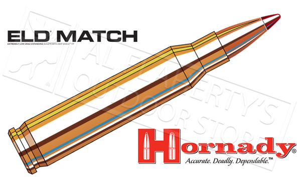 Hornady .308 Win ELD Match, Polymer Tipped 168 Grain Box of 20 #80966