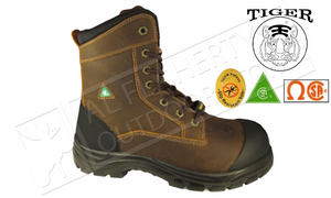 "Tiger Safety Titanium Ultra-Light and Waterproof Workboot, Brown 8"" Height #7888-C"