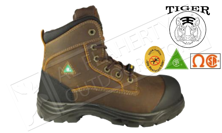 Tiger Safety Titanium Ultra-Light and Waterproof Workboot, Brown #7666-C