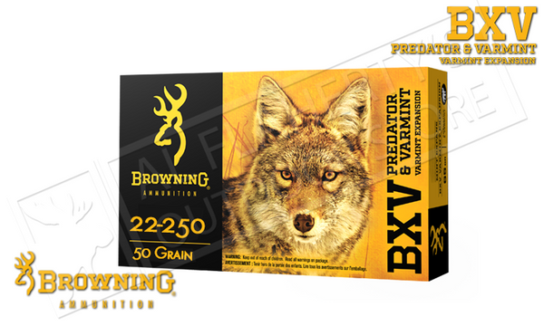 Browning 22-250 Rem BXV, 50 Grain Box of 20 #B192322250