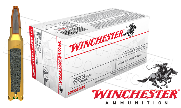 Winchester 223 Rem White Box Varmint, JHP 45 Grain Box of 40 #USA2232
