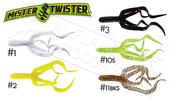 Mister Twister Split Double Tail, Packs of 10 #SDT10