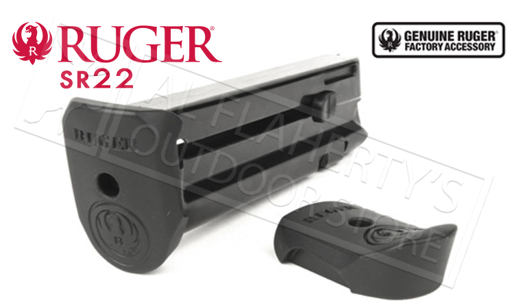 Ruger SR22 Pistol Magazine, 22LR 10-Round with Extendion Pad #90382