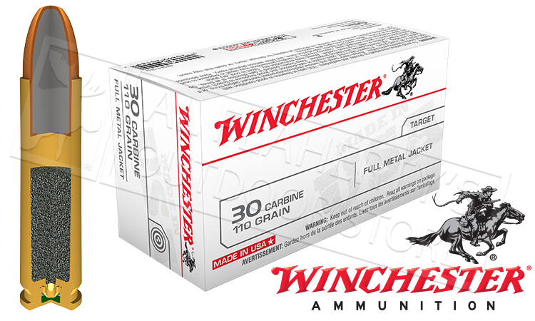 Winchester 30 Carbine White Box, FMJ 110 Grain Box of 50 #Q3132