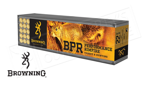 Browning 22LR BPR Target and Hunting Ammunition, 40 Grain, High Velocity Box of 100 #B194122100