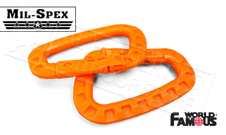 "World Famous Mil-Spex Tactical Biners, 3.25"" Fluorescent Orange Pack of 2 #2576"