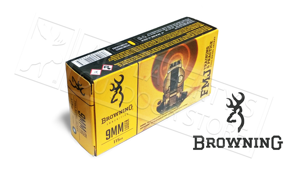 Browning 9mm BPT Target Ammunition, 115 Grain FMJ Box of 50 #B191800092