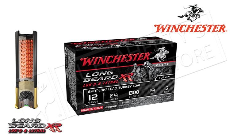 "12 Gauge - Winchester Elite Long Beard XR Turkey Shells, 2-3/4"" 1-1/4 oz. #5 Shot, 1300 FPS, Box of 10 #STLB125"