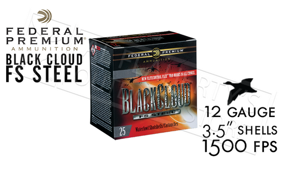 "12 Gauge - Federal Black Cloud FS Steel with FliteControl Flex Wad, #2 to #BBB Shot 3.5"" Box of 25 #PWBX134"