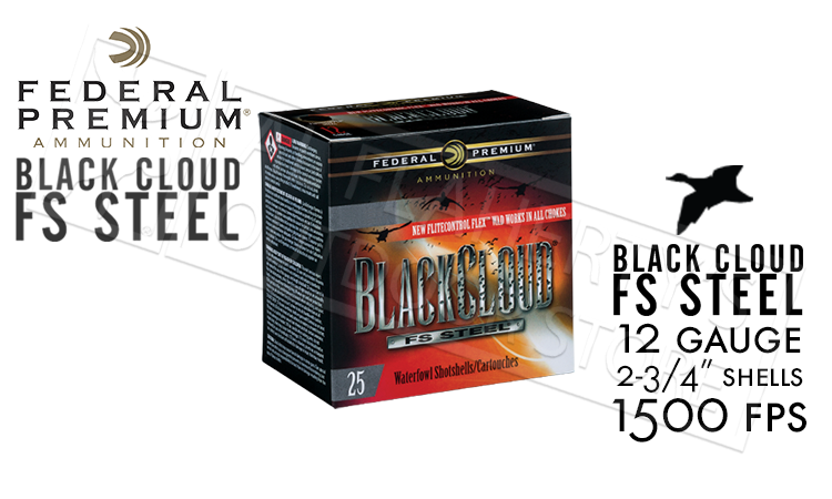 "12 Gauge - Federal Black Cloud FS Steel with FliteControl Flex Wad, #4 to #BB Shot 2-3/4"" Box of 25 #PWBX147"