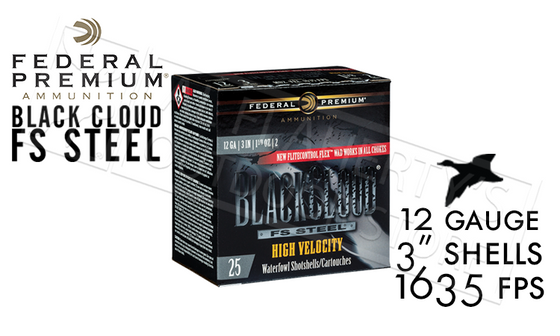 "12 Gauge - Federal Black Cloud FS Steel High Velocity with FliteControl Flex Wad, #2 to #BB Shot 3"" Box of 25 #PWBXH143"