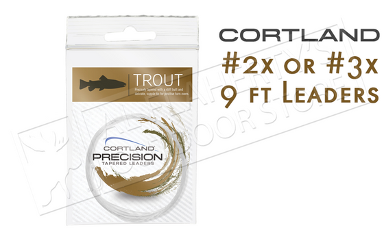Cortland Precision Tapered Leaders, Tapered and Knotless Leader, 2X or 3X 9ft #604