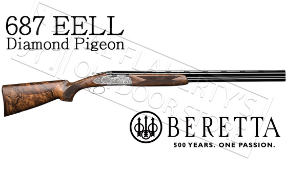 "Beretta 687 EELL Diamond Pigeon Over-Under Field Shotgun with Floral Engraving, 12 or 20 Gauge with 28"" Barrels"