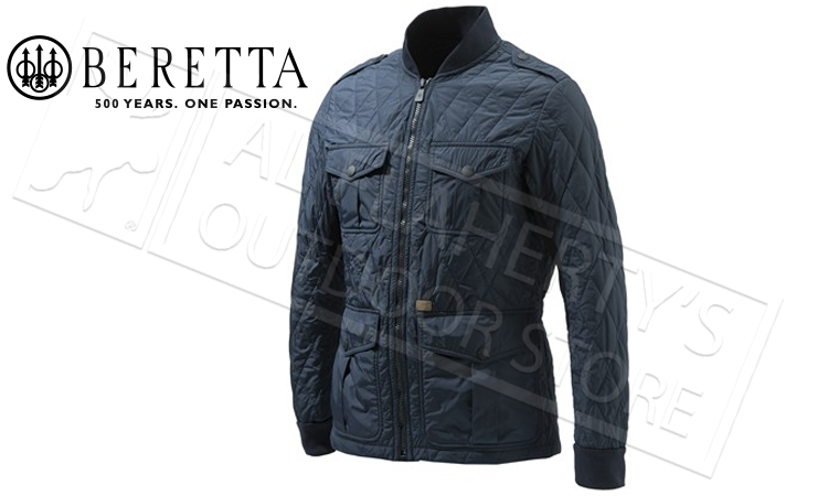 Beretta Tilia Quilted Field Jacket in Dark Blue, Sizes 52-58 Italian #GU862T1360