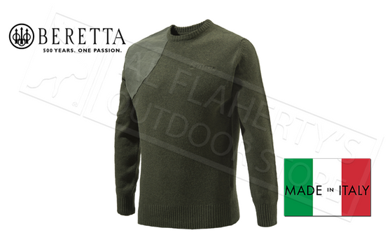 Beretta Classic Round Neck Sweater in Green, M-2XL #PU441T1194