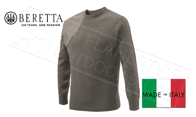 Beretta Classic Round Neck Sweater in Brown, M-XL #PU441T1194