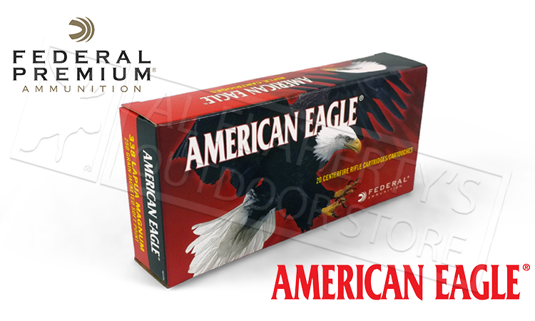 Federal American Eagle Ammunition 338 Lapua Magnum 250 Grain Soft Point Box of 20 #AE338L