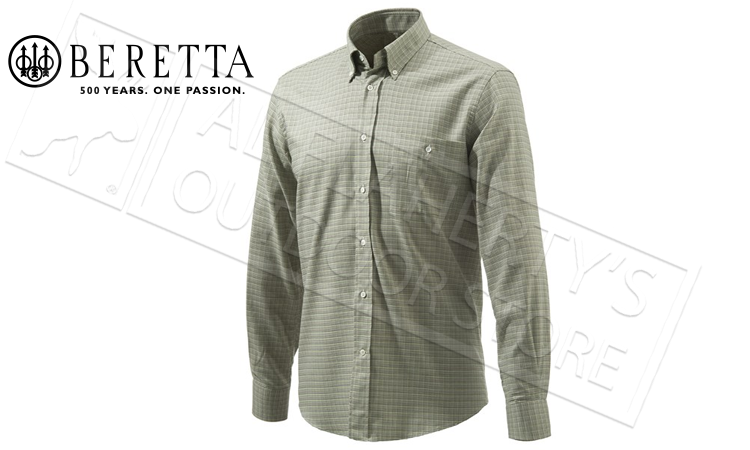 Beretta Elm BD Classic Shirt in Green Check, Sizes 42-44 Italian #LU531T1426078Z