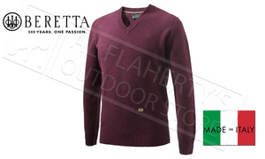 Beretta Pheasant V Neck Sweater in Bordeaux Red, Sizes L-XL #PU032T1480036A