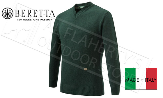 Beretta Pheasant V Neck Sweater in Dark Green, Sizes L-XL #PU032T1480076C