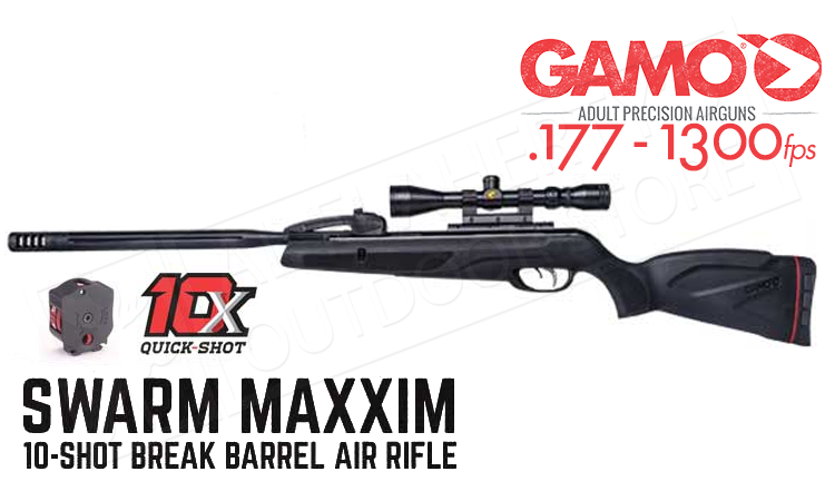 Gamo Swarm Maxxim 10-Shot Break-Action Air Rifle, 1300FPS .177 Caliber #G61100371C54