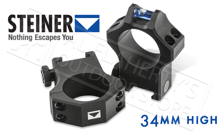 Steiner T-Series Scope Rings - 34mm High with Integrated Level #5966