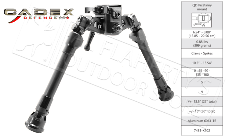 "Cadex Defence Falcon Lite Bipod - 6.25"" to 9"" Height #7431K102"