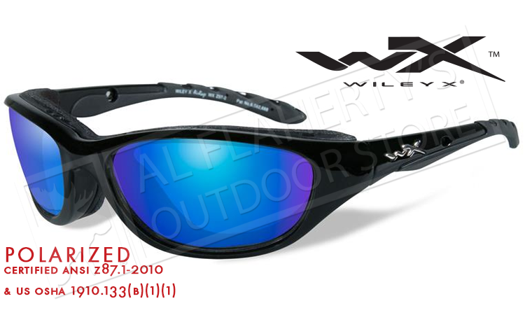 f3ebf1979d Wiley X AirRage Shooting Glasses with Polarized Blue Mirror Lens and Gloss  Black Frame  698