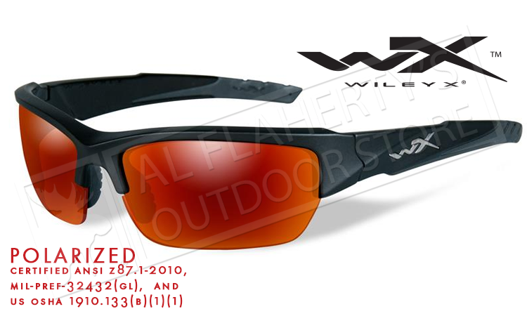 8a701aa7732 Wiley X Valor POL Polarized Shooting Glasses with Crimson Mirror Lens and  Matte Black Frame ...